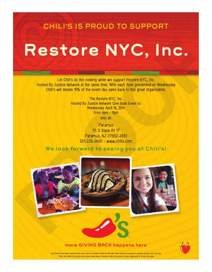Chilis fundraiser flyer