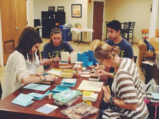 Students making cards with Tanya
