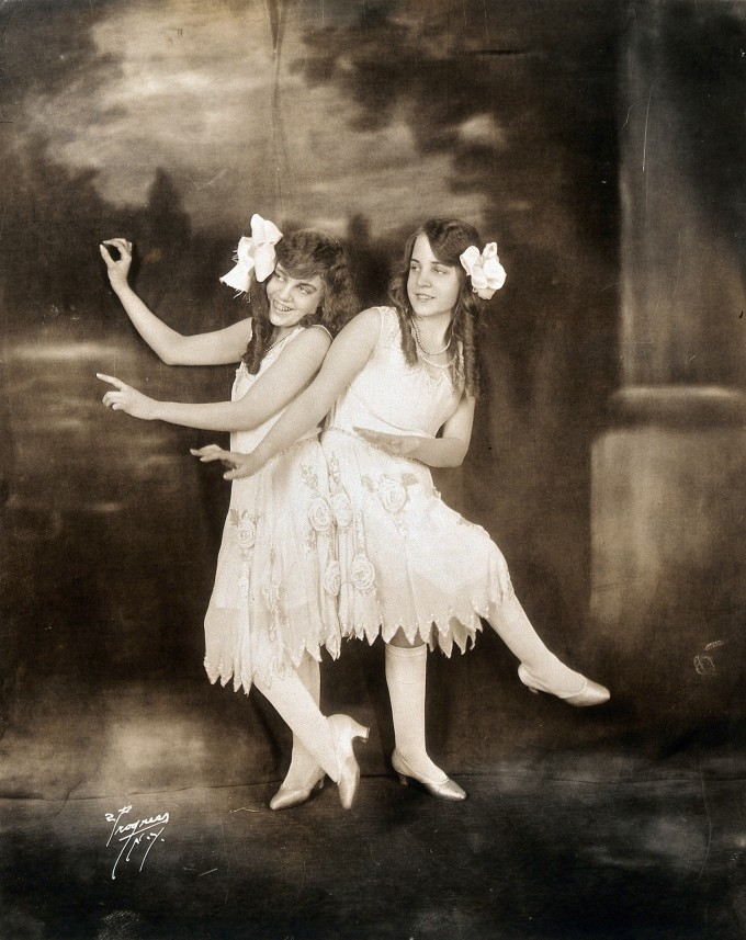 V0029594 Daisy and Violet Hilton, conjoined twins, dancing. Photograp